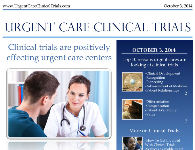 Press Release: Clinical trials are positively effecting urgent care centers